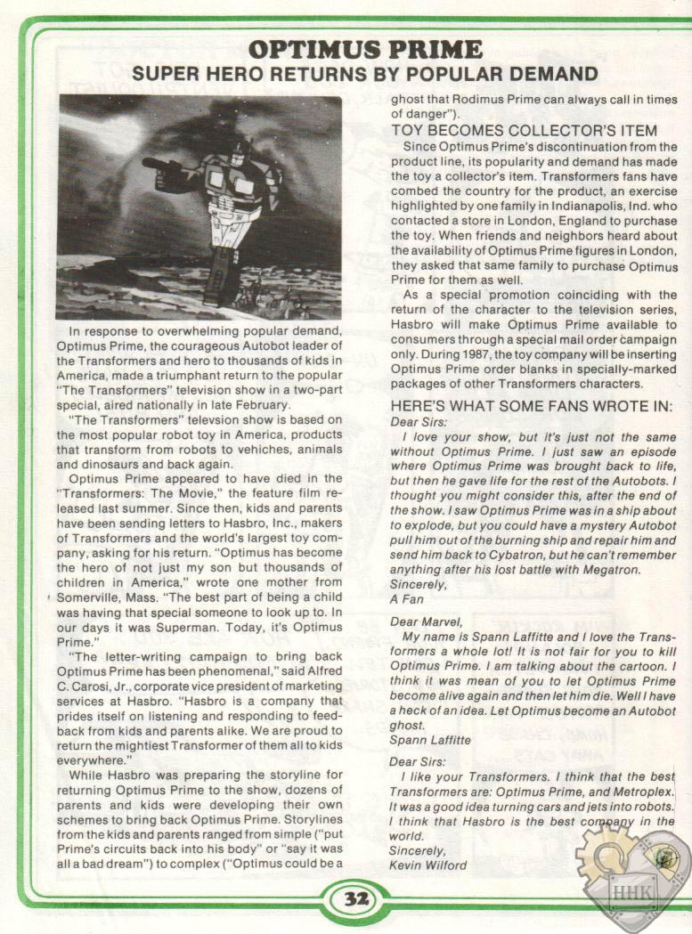 Article en image racontant la popularité d'Optimus Primus! KLOPb